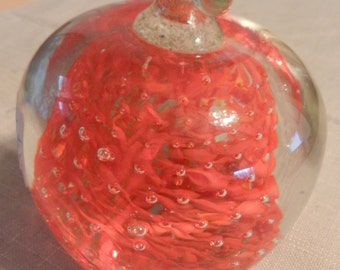 SALE Vintage Glass Apple Paper Weight