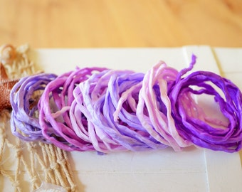 Hand dyed Silk Cords  - Set of 6 - purple lilac colors silk strings