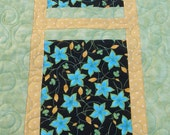 Quilted Table Runner Teal Flowers Yellow Polka Dot Lime Green Quilt Summer Spring Quilted Table Runner