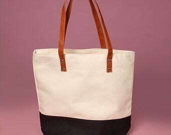 "Color Block Canvas Tote Bag - 15"" x 15"""