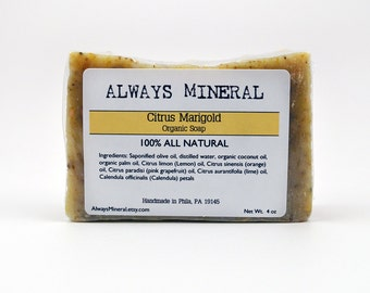 Citrus Marigold All Natural Soap. Organic Vegan Soap. Handcrafted. 100% All Natural. Essential Oil Scented Soap. Bath and Body. Herbal Soap.