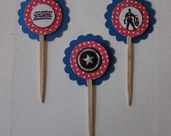 captain american cupcake topper