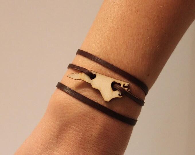 North Carolina Leather Wrap Bracelet