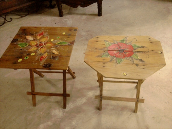 Vintage Mexican Wood Folding Tables Hand-Painted