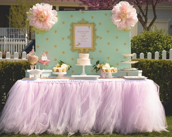 Pale Pink Tutu Table Skirt