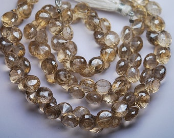 8 Inch Strand,Mystic Champagne Quartz Faceted Onion Shape Briolettes 7-8mm aprx