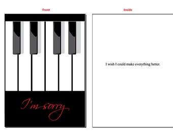 I'm Sorry piano greeting card