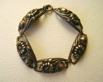 vintage repousse sterling panel bracelet, floral delight