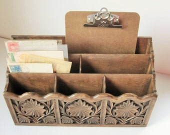 Faux Wood Desk Organizer For School, Office or Library - Vintage '60s Large, Practical and Fun With Great Design and Practicality - Lerner