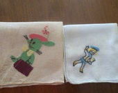 Vintage Childrens Handkerchiefs.Two Hankies, Applique and Embroideried Cotton