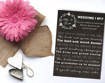 Wedding I Spy, I spy Wedding Game, I spy guest photos, Printable 5x7