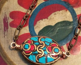 SALE Tibetan Brass and Turquoise Bohemian Necklace