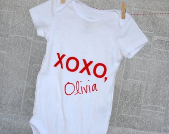 Personalized Valentine's Day XOXO Onesie - Signed Sealed and Delivered!
