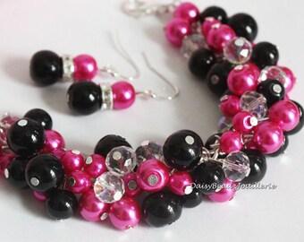 Hot Pink & Black Pearl Cluster Bracelet, Bridesmaids Jewelry, Bridesmaids Gift, Hot Pink and Black Bracelet