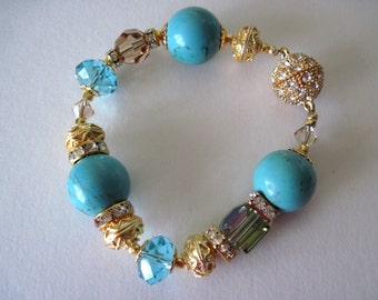 Bracelet.  turquoise and gold  Great for  mothers day