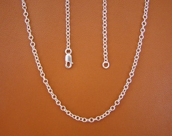 "2.4mm, 20"" Cable Chain, Sterling Silver"