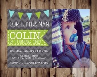 Chevron Boy Birthday Invitation, Boys photo birthday invite, photo birthday invitation, little man birthday, boy birthday, 1124