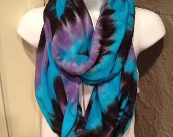 Tie dyed scarf, Hand dyed rayon infinity scarf, circle scarf, Black, turquoise and lavender infinity scarf