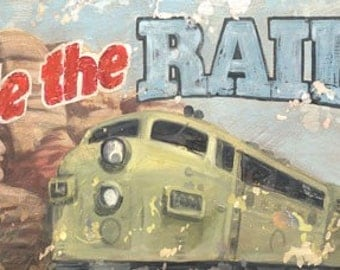 Ride the Rails - Train Transportation Wall Art by Aaron Christensen - A vintage wanderlust piece that's great for kids rooms and playrooms