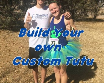 Build Your Own Custom Tutu. Select up to 4 colors. (9 inch tutu)Running Tutu/Race Costume/Halloween/Christmas Run/Turkey Trot/Cosplay