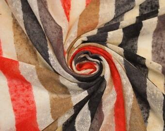 Red/Dark Blue Stripe Jersey Knit Fabric Stripe 4 way stretch Jersey Sweater Knit Fabric - 1 Yard Styl1 6077