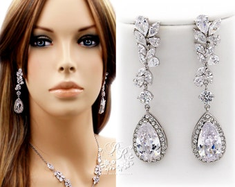 Wedding Earrings Platinum plated Teardrop Zirconia Earrings Wedding Jewelry Bridesmaid Earrings Bridal Earrings Wedding Accessory Sasa