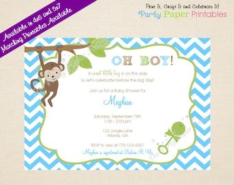 Monkey Baby Shower Invitation, Monkey Invitation, Baby Monkey Invitation, Monkey Theme Invitation, Monkey Shower Invitation