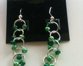 Light Green Circle Drop Earrings