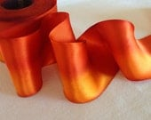 Orange Hand dyed silk satin ribbon-California Poppy-2 yard increments