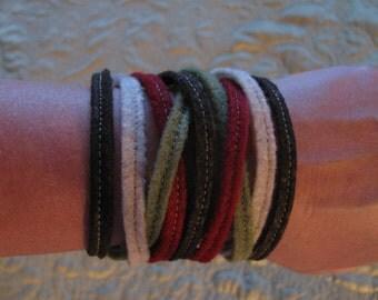 Felt Wrap Bracelet 100% Eco-fi Post-Consumer Recycled Plastic Bottles, Brown,Green,Red, Tan