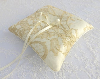Ivory Wedding Ring Pillow. Ivory silk satin ring bearer. Gold floral lace ring bearer.