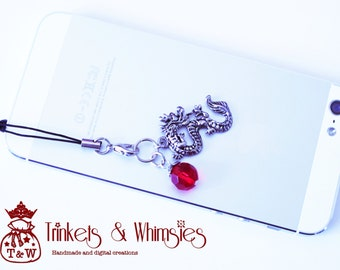Lucky Red Dragon Dust Plug and Cellphone Charm