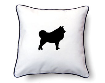 Samoyed Pillow 18x18 - Samoyed Silhouette Pillow - Personalized Name or Text Optional