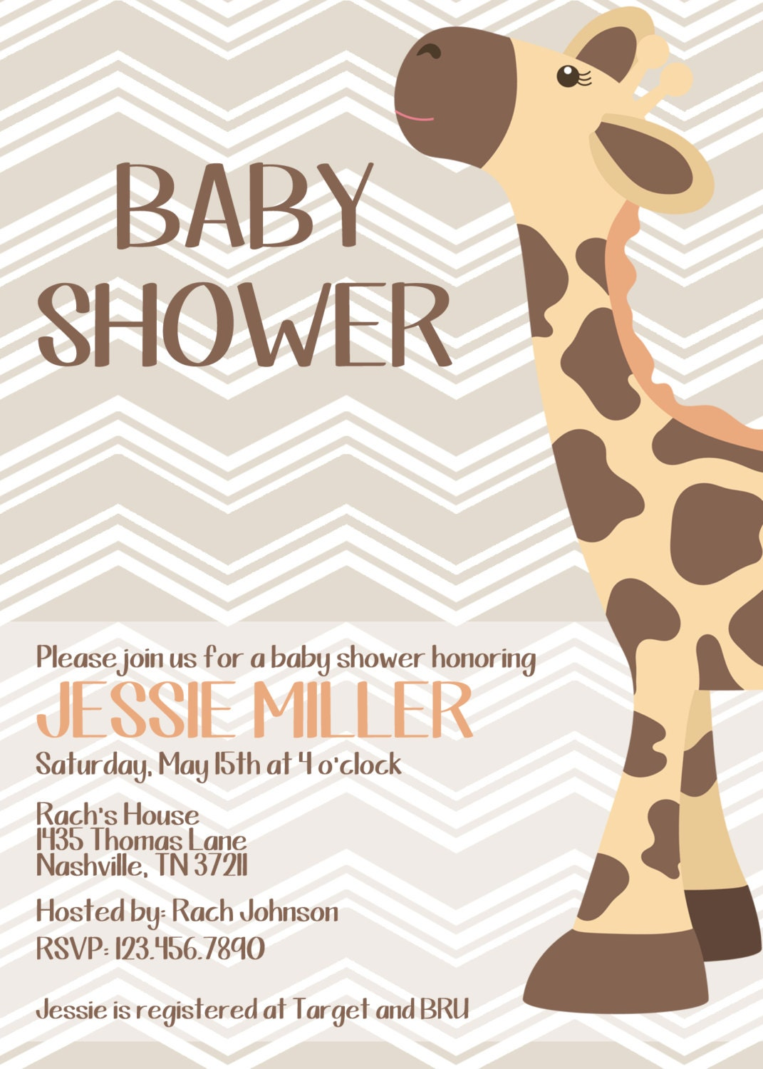 giraffe baby shower invitation diy print your own by amddesigns1