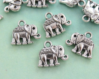 12 Small Elephant Charms Antique Tibetan Silver Double Sized