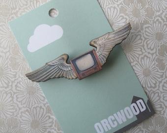 Wood Brooch - TV Pilot Wings