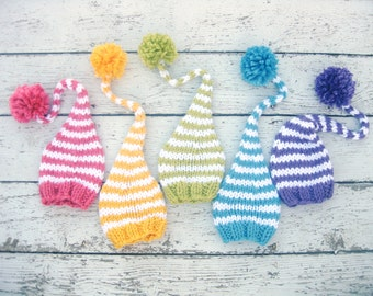 Spring Rainbow Elf Knit Baby Hat Photography Prop / Size 0 to 12m / Infant Easter Photo session Newborn Boy Girl Twins