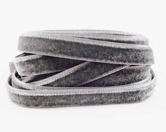 3 Meters of 10mm Gray Velvet Ribbon - 3.28 Yards - Made in Turkey