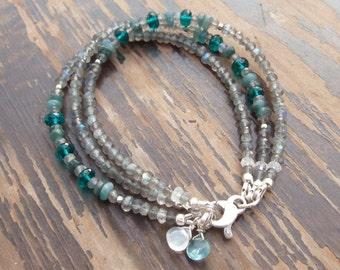 Labradorite Bracelet, Apatite Bracelet, Moonstone Bracelet, Hill Tribe Silver Bracelet, Triple Strand Bracelet, Multi Gemstone Bracelet