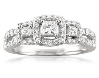 14k White Gold Three-Stone Princess-cut & Round Diamond Halo Engagement Ring (3/4 cttw, H-I, I1-I2)
