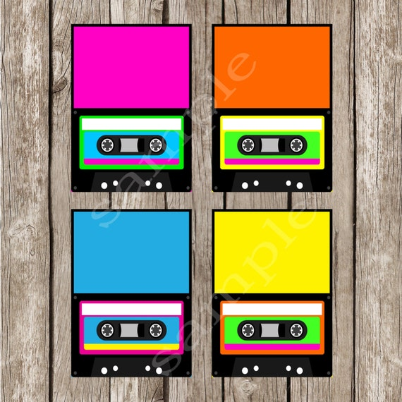 totally eighties editable cassette food labels tent cards instant