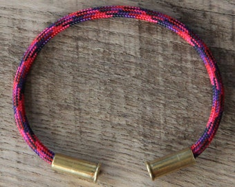 Candy Camo Bullet Casing Bracelet recycled .22lr casings red purple navy paracord wire BRZN