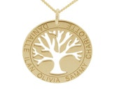 Personalised Family Tree of Life Disc Pendant - Family Name Necklace Gold Plated on Silver with Chain - Mother's Pendant - Gift for Mum