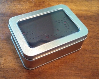 Tin Box with Hinged Window Lid // Metal Box // Gift Wrapping // Packaging // Shipping // Storage // Metal Case
