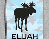 Blue Gray Camo Wildlife Deer Duck or Moose Spiral bound Personalized One Subject Notebook Steno Pad or Notepad
