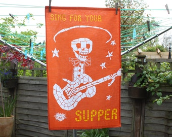 Orange Tea Towel - Alberto - Sing For Your Supper