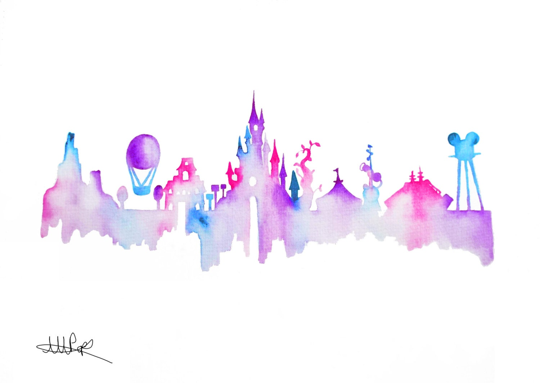 Disneyland Paris Skyline Watercolor Silhouette By CoconuTacha