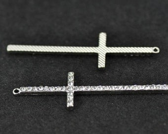 5pcs 15x54mm Antique Silver White Stone Rhinestone Cross Charms Pendant - Curved Cross Charm