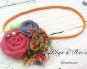 Rosette & Shabby Chiffon Fabric Flower Headband/Hair Clip/Brooch, Orange, Blue, Neon Green, Yellow, Mauve Pink, Hair Accessory, Girls, Women