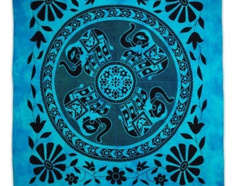 Elephant Abstract Pattern Wall Decor Blue Tapestry